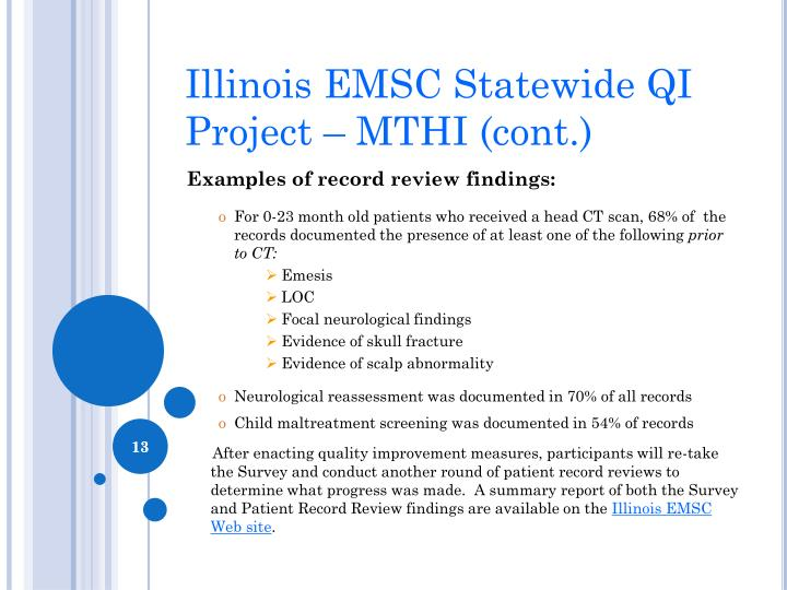 Illinois EMSC Statewide QI Project – MTHI (cont.)