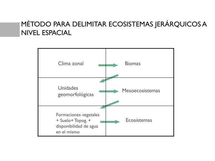 MÉTODO PARA DELIMITAR ECOSISTEMAS JERÁRQUICOS A NIVEL ESPACIAL