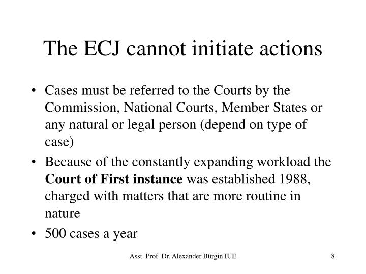 The ECJ cannot initiate actions