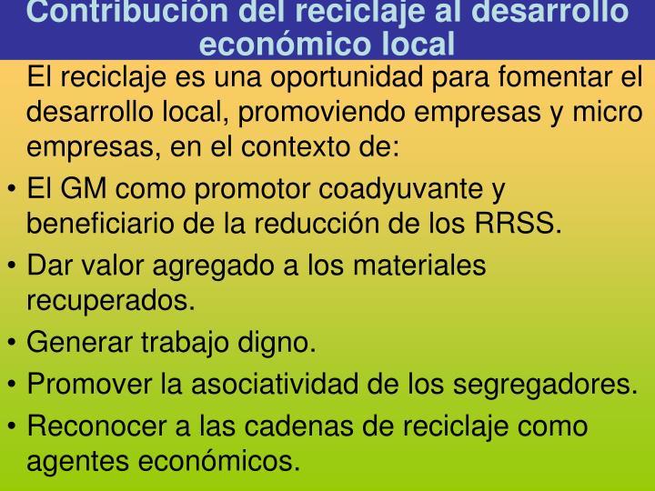 Contribución del reciclaje al desarrollo económico local