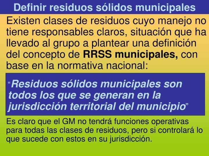 Definir residuos sólidos municipales