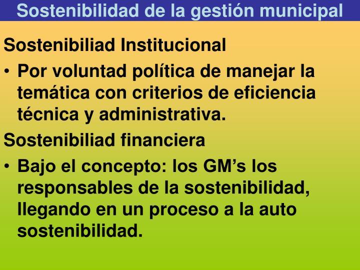 Sostenibilidad de la gestión municipal
