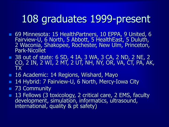 108 graduates 1999-present