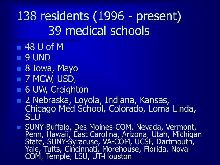 138 residents (1996 - present)