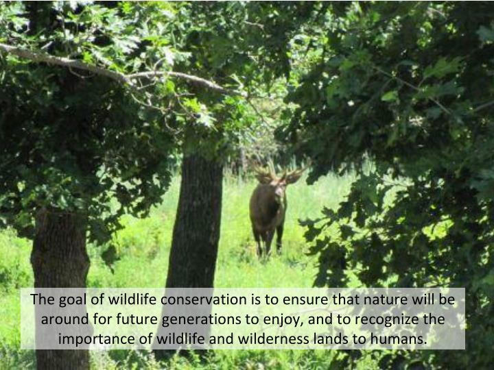 The goal of wildlife conservation is to ensure that nature will be around for future generations ...