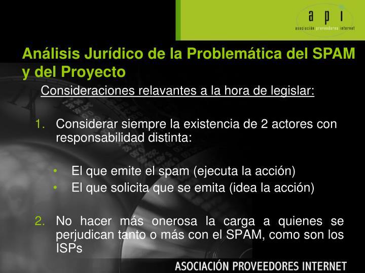 Análisis Jurídico de la Problemática del SPAM y del Proyecto