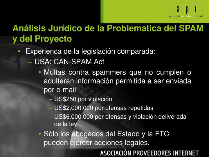 Análisis Jurídico de la Problematica del SPAM y del Proyecto