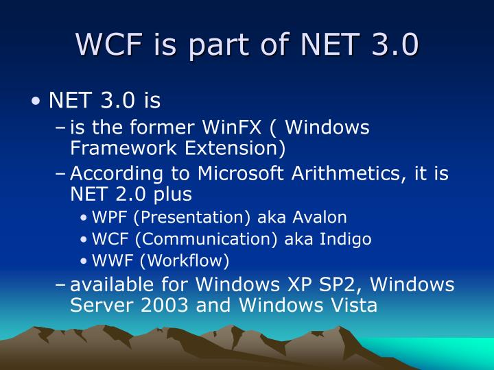Wcf is part of net 3 0