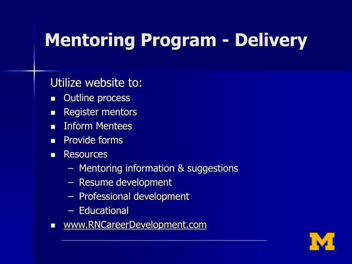 Mentoring Program - Delivery