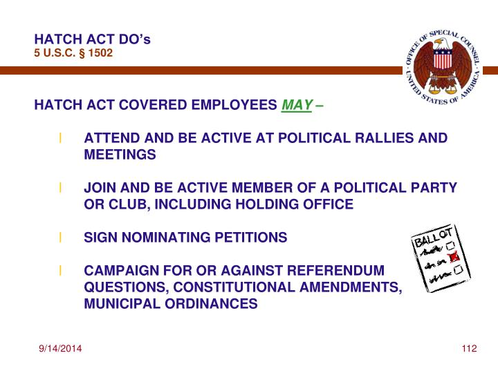 HATCH ACT DO's
