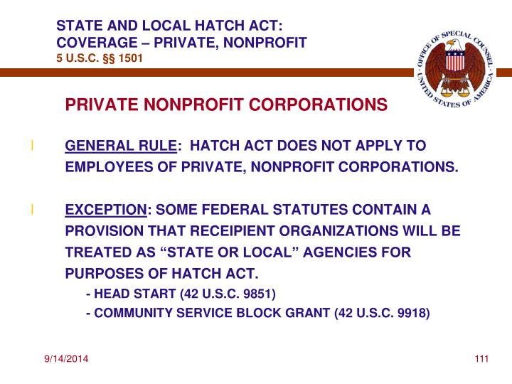 STATE AND LOCAL HATCH ACT: COVERAGE – PRIVATE, NONPROFIT