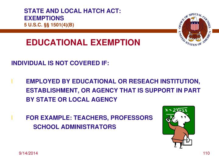 STATE AND LOCAL HATCH ACT: EXEMPTIONS