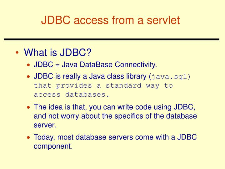 JDBC access from a servlet