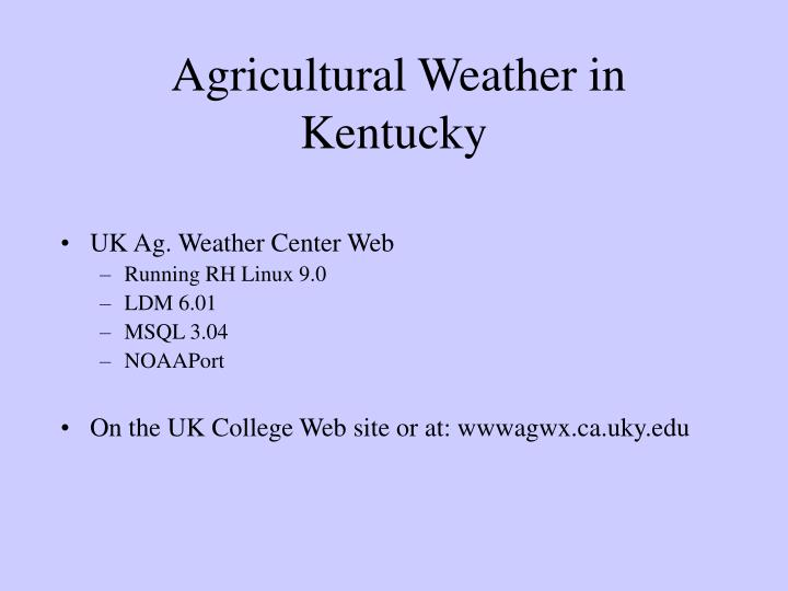 Agricultural Weather in Kentucky