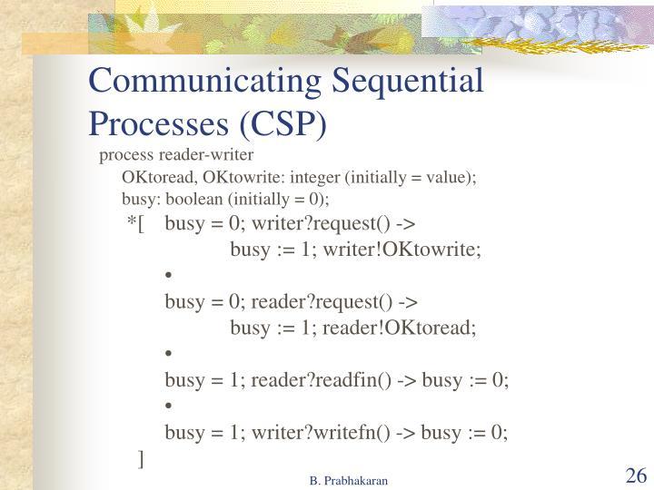 Communicating Sequential Processes (CSP)