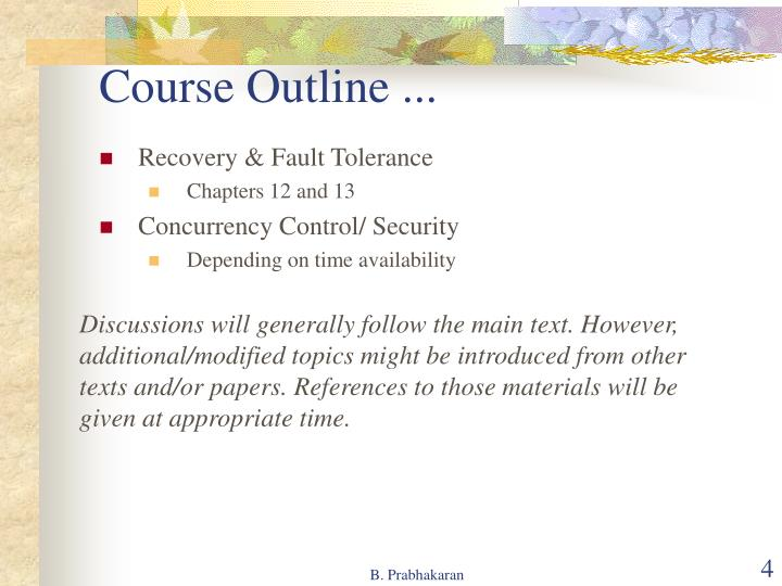Course Outline ...