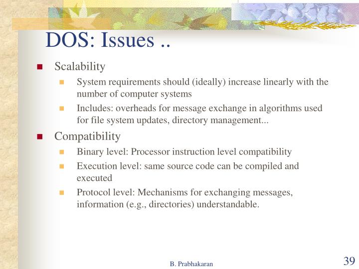 DOS: Issues ..