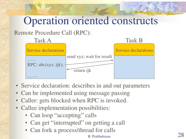 Operation oriented constructs