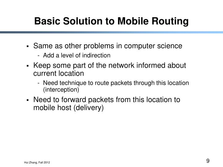 Basic Solution to Mobile Routing