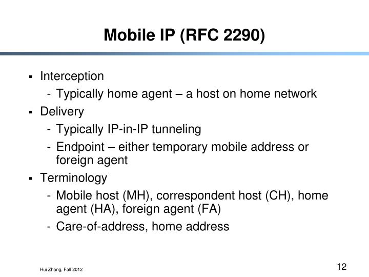 Mobile IP (RFC 2290)