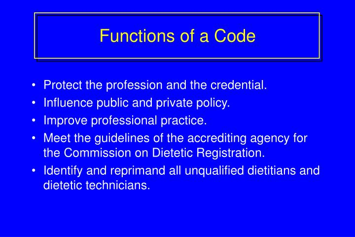 Functions of a Code