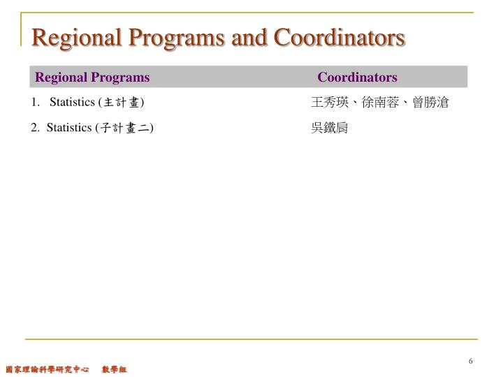 Regional Programs and Coordinators