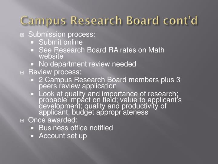 Campus Research Board cont'd