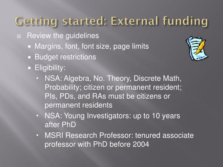 Getting started: External funding
