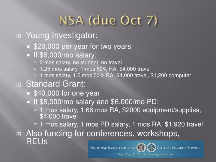 NSA (due Oct 7)