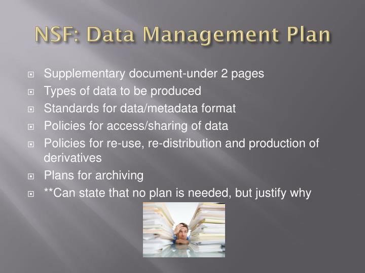 NSF: Data Management Plan