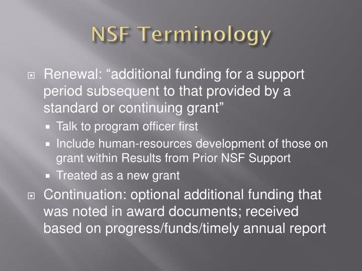 NSF Terminology