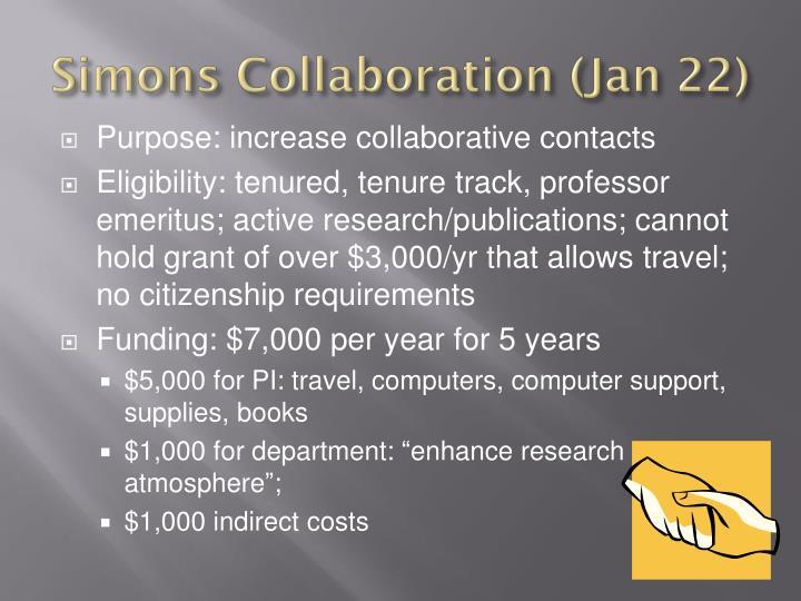 Simons Collaboration (Jan 22)