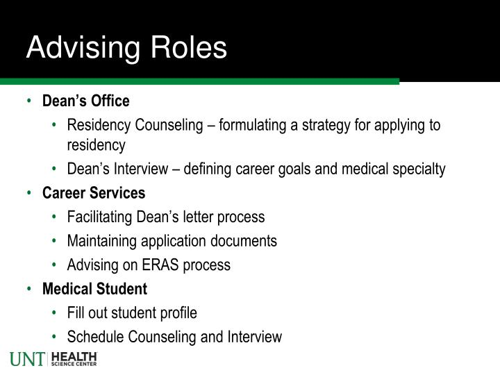 Advising Roles