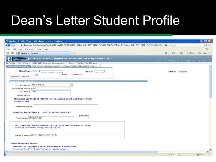 Dean's Letter Student Profile