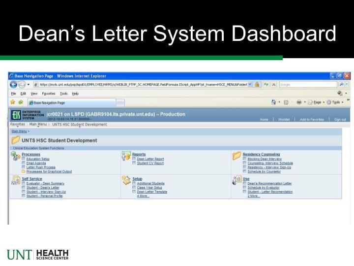 Dean's Letter System Dashboard