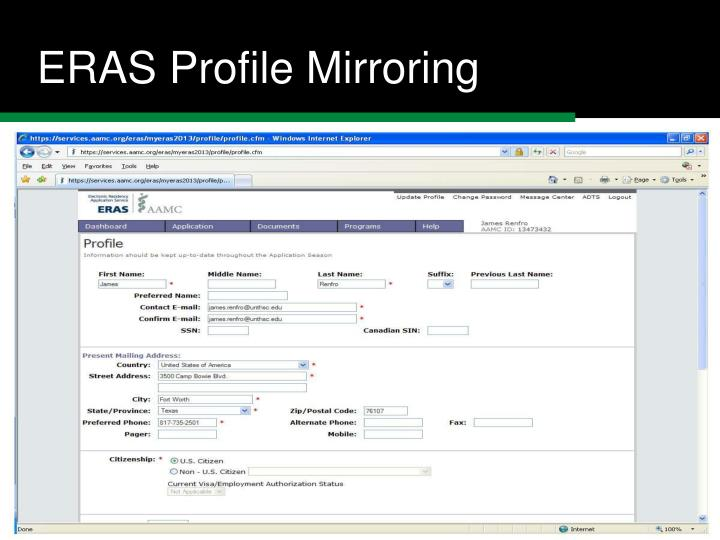 ERAS Profile Mirroring