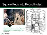 square pegs into round holes