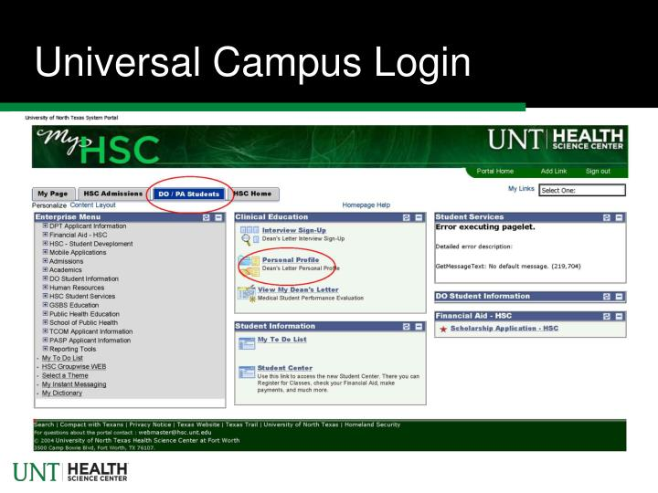 Universal Campus Login