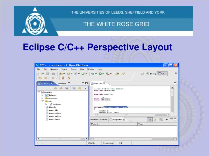 Eclipse C/C++ Perspective Layout