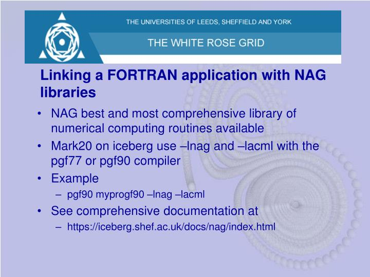 Linking a FORTRAN application with NAG libraries