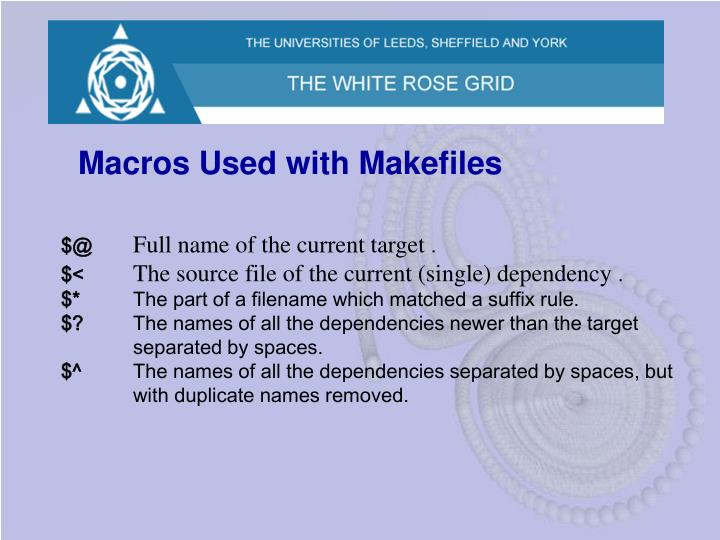 Macros Used with Makefiles