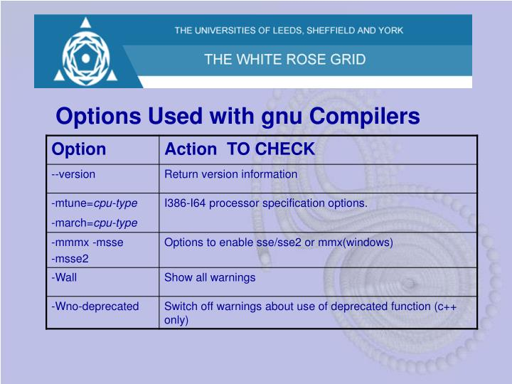 Options Used with gnu Compilers