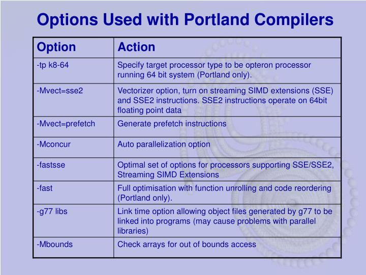 Options Used with Portland Compilers