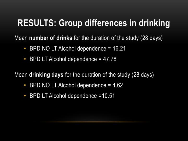 RESULTS: Group differences in drinking