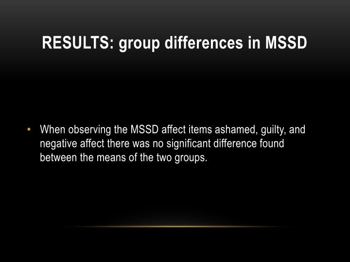 RESULTS: group differences in MSSD