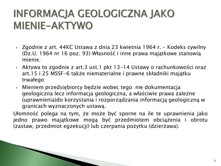 INFORMACJA GEOLOGICZNA JAKO