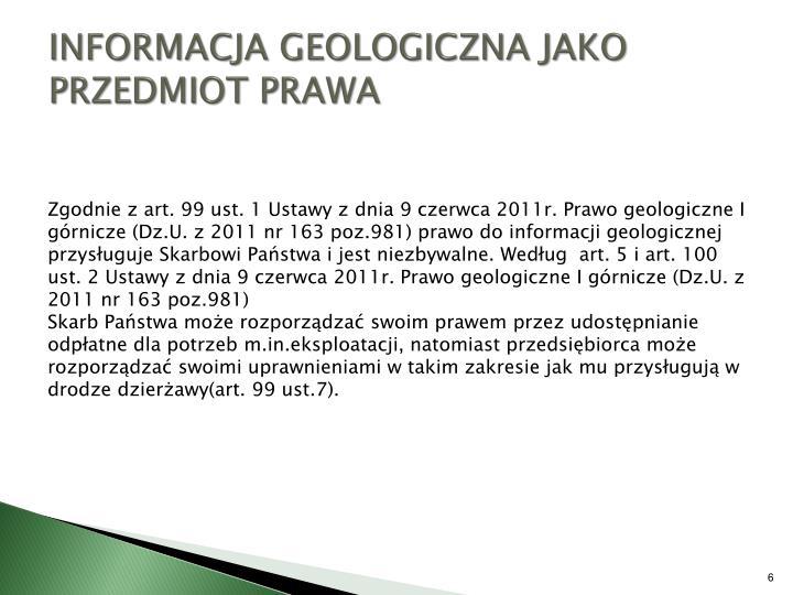 INFORMACJA GEOLOGICZNA JAKO PRZEDMIOT PRAWA