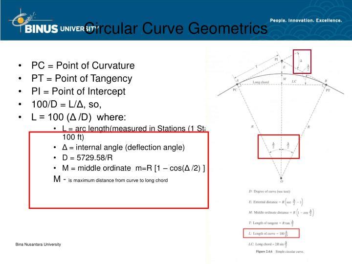 Circular Curve Geometrics