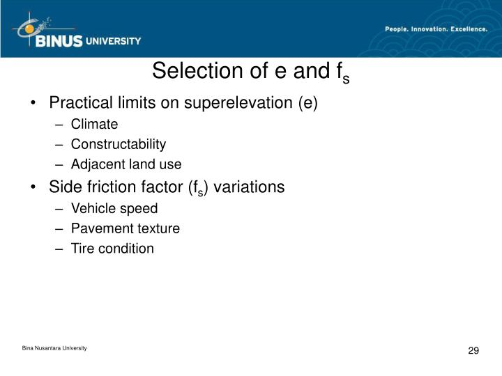 Selection of e and f