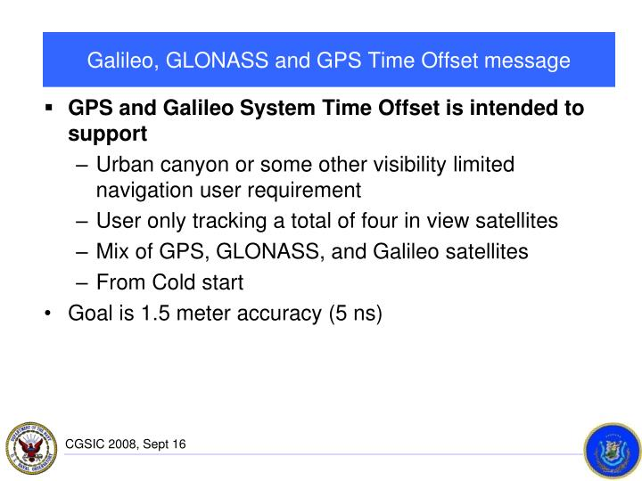 Galileo, GLONASS and GPS Time Offset message